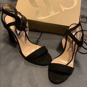 Black strapless heels